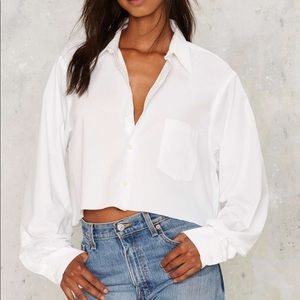 Nasty Gal Boss of Me Button-Up cropped shirt